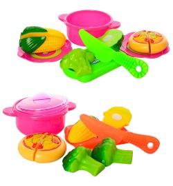 Продукты 669-18A-19A (84шт) на липучке, кастрюля, нож, досточка, 2вида, в кульке,21,5-24-7см