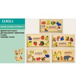 Деревян. домино CLR311 (120шт) животные-фрукты, 5 видов,в пленке 15,5*4*9см