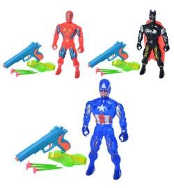 Герои Набор  52ABC (144шт) AV,супергерой23см, пистолет,присоски,очки,3вида, в кульке,13-25-5см