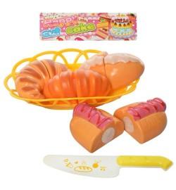 Продукты 3004 (56шт) на липучке, выпечка, тарелка, нож, в кульке, 21-25-4см