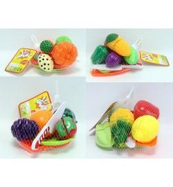 Продукты C388-1-2-3-4 (120шт) на липучке,4шт, досточ, тарелка,нож,4в(овощи/фрукты),в сетке,15-10-7с