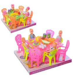 Столовая A8-6A-7A (48шт) кукла 4шт, 10см, стол, стулья,  продукты, 2вида, в слюде, 23-21-11,5см