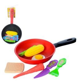 Продукты 930-15 (288шт) сковородка, кух.принадлежности, микс видов, в сетке, 28-16-3см