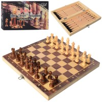 Шахматы W7702 (15шт) деревян, 3в1(шашки, нарды), в кор-ке, 29,5-15-4,5см