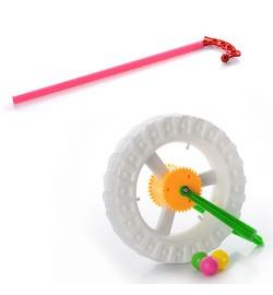 Каталка 8901C (180шт) на палке36см,колесо17см,свет,трещотка,на бат-ке(таблетки),в кульке,19-17-5,5с
