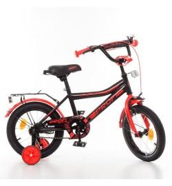 Велосипед детский PROF1 14д. Y14107 (1шт) Top Grade,черно-красн.(мат),звонок,доп.колеса