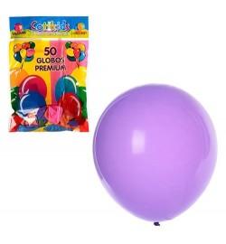 Шарики надувные MK 0011 (100шт) 10 дюймов, прозрачный, микс цветов, 50шт в кульке, 19-28-1см