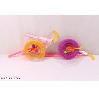 Каталочка колесо 059E (288шт/2) 2 цвета,на палочке,трещетка, в пакете 14*14*3см