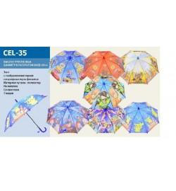 Зонт CEL-35 (120шт/4) 6 видов, с рисунком, для мальчиков  в пакете 50см