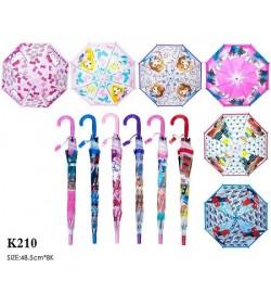 Зонт K210 (60шт/5) 6 видов, м/г, со свистком, в пакете 49 см