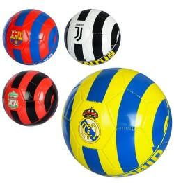 Мяч футбольный EV 3235 (30шт) размер 5, ПВХ 1,8мм, 300-320г, 4цветов (клубы), в кульке