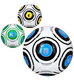Мяч футбольный EV 3286 (30шт) размер5, ПВХ, 300-320г, 3вида, страны, в кульке