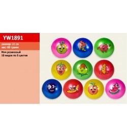 Мяч резиновый YW1891 (300шт)  22cm 60g, 10 вид, 5 цвет