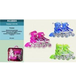 Ролики RS18004 (6шт) S(31-34) металл.рама,колеса pu 1 свет,клипса,шнурок,3 цвета в сумке