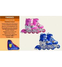 Ролики YW03421 (6шт) р.S 31-34, металл.рама,колеса PU,1 свет,син,розов