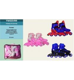 Ролики YW0354M (6шт) р.M 33-36, пластик рама,колеса PVC,3роз,2сине-черн,1сине-красн, в сумке