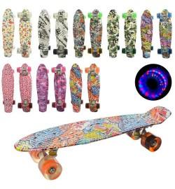 Скейт MS 0748-8 (8шт) пенни,55-14,5см,алюм.подвеска,перед.светящ.колесаПУ,подшABEC-7,принт,разобр,8