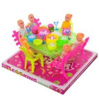 Столовая  66-54 (48шт) куклы, посуда, продукты, в слюде, 22-20-13,5см