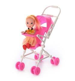 Кукла 262-18 (288шт) 10см, с коляской, в кульке, 12-16-7,5см