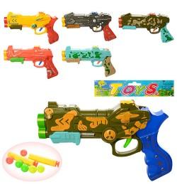 Пистолет 159-14-15 (180шт) 22см,мягк.пули-присоски2шт, шарики 6шт, 6видов, в кульке, 22-13,5-3см