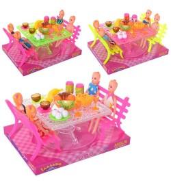 Столовая  A8-726 (60шт) кукла 10см, стол, скамейки, продукты, в слюде, микс видов, 22,5-17-13,5см