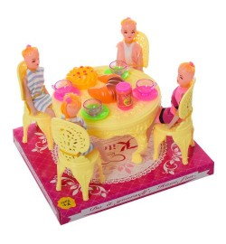 Столовая A8-86 (60шт) стол, стулья, кукла 4шт, посуда, продукты, в слюде, 17-14,5-19см