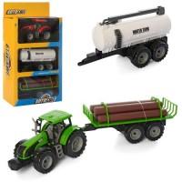 Трактор AS-2020 (24шт) АвтоСвіт, инер-й, 20см, прицеп2шт, 2цвета, в кор-ке, 26-46-11см