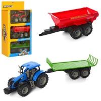 Трактор AS-2021 (24шт) АвтоСвіт, инер-й, 20см, прицеп2шт, 2цвета, в кор-ке, 26-46-11см