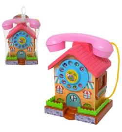 Телефон 1218P (48шт) домик-копилка, 16см, звук(механич), в сетке, 15-19-10см