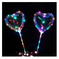 Шарики надувные MK 2075-2 (100шт) BOBO, сердце,  свет, гирлянда 3м, на палке70см, на бат-ке