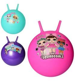 Мяч для фитнеса MS 3165 (24шт) LOL, с рожками, 45см одностикерный,450г, 3вида, в кульке,18-14-5см