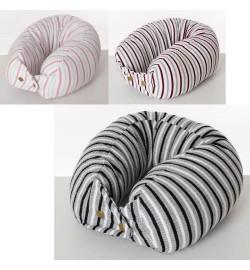 Подушка MP 1984 (30шт) дорожная, 60-10см, застежка-кнопки, 3цвета, в кульке, 27-20-10см