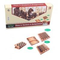 Шахматы 822 (18шт) 3в1(нарды,шашки), деревянные, в кор-ке, 35-18-5,5см