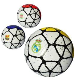 Мяч футбольный EV 3294 (30шт) размер 5, ПВХ 1,8мм, 2слоя, 32панели, 300-320г, 3вида(клубы),в кульке