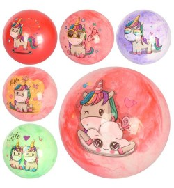 Мяч детский MS 2601 (240шт) 9 дюймов, единорог, полноцветный, 6видов,3цвета, 70г