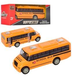 Автобус AS-2198 (48шт) АвтоСвіт,1:32,металл,инер-й,13см, школьный, рез.колеса, в кор-ке, 16,5-7-7см