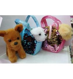 Мягкая игрушка MB106 (80шт) собачка 20 см, 3 вида,  в сумочке с пайетками 17*13 см, 2 цвета,  в пак