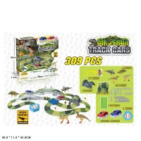 Трек D7088 (12шт/2) Dinozaurs, с петлями, 309 дет+2 светящ машинка+4 динозавра+аксессуары, в кор 48