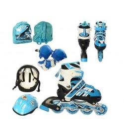 Ролики A 4128-S-BL (31-34) (6шт) раздв,шн+бакл,ал.рам,колПВХ64мм-св,шлем,защит,синий,рюкз,30-32-18с