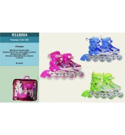 Ролики YW03391 (6шт) р.S 31-34, металл.рама,колеса PU,1 свет,красн,син