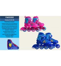 Ролики YW03392 (6шт) р.M 35-38, металл.рама,колеса PU,1 свет,красн,син