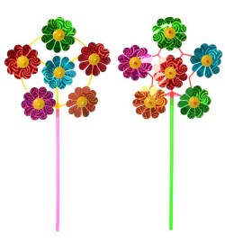 Ветрячок M 6235 (500шт) цветок, диам.20см, на палочке 28см, фольга, 2вида