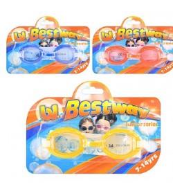 BW Очки для плавания 21048 (36шт) 7-14лет,3 цвета(синий,оранжевый,желтый), на листе, 20-14-3см