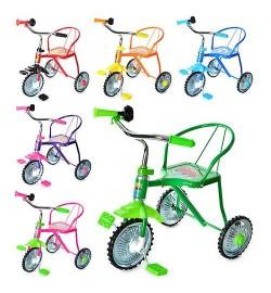 Велосипед LH-701-2 (6шт)3 колеса,хром,6 цветов:красн,желт,зел,темн-син,голуб,роз,клаксон,51-52-40см