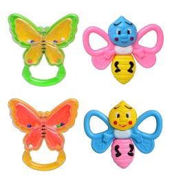 Погремушка в ручку 5166 (480шт/2) две бабочки в пакете 10см