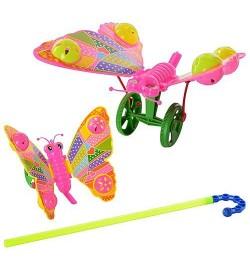 Каталка 865-20 (240шт) бабочка, на палке, 2 цвета, 17-15-6см