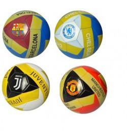 Мяч футбольный EV 3193 (50шт) размер 5, ПВХ, 6 видов(футбольные клубы), 300-320г