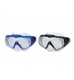 Маска 55981 (12шт) для плавания, от 14лет, стеклянные линзы, 2 цвета, в футляре, 19-12-10см