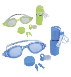 Набор для плавания 26002 (24шт) очки, беруши, клипса для носа, 2 цвета, колба, на листе,