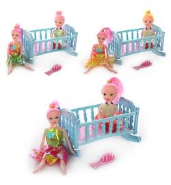 Кукла 6656-14 (336шт) 15см, с дочкой 10см, кроватка, расческа, микс видов, в кульке, 12,5-21-3см